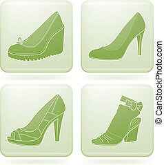 Olivine Square 2D Icons Set: Woman\'s Shoes - High-helded...