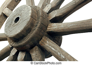 Right closeup view of vintage wagon wheel