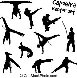 vector capoeira set - Isolated silhouettes capoeira...