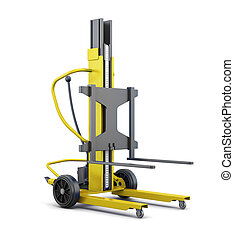 Forklift isolated on a white background. 3d rendering