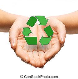 cierre, Arriba, de, Manos, tenencia, verde, reciclaje,...