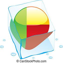benin button flag frozen in ice