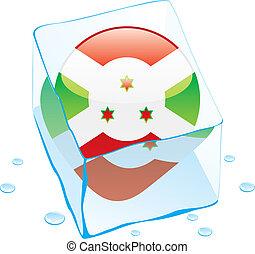 burundi button flag frozen in ice