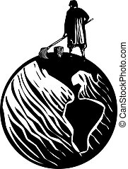 Scrub Woman World - Woodcut style expressionist image of...