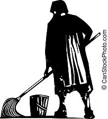 Scrub Woman Mopping - Woodcut style expressionist image of...