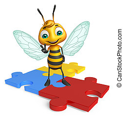 fun Bee cartoon character with puzzle - 3d rendered...