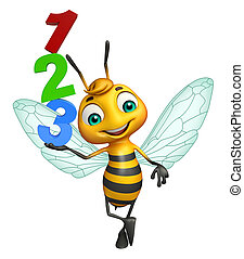 Bee cartoon character with 123 sign - 3d rendered...