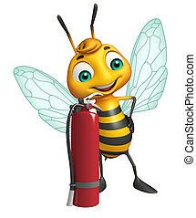 fun Bee cartoon character with fire extinguisher - 3d...
