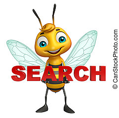 fun Bee cartoon character with search sign - 3d rendered...