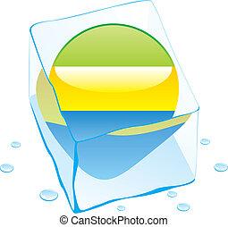 gabon button flag frozen in ice