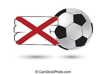 Soccer ball and Alabama State Flag with colored hand drawn...