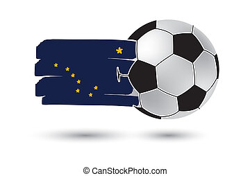 Soccer ball and Alaska State Flag with colored hand drawn...