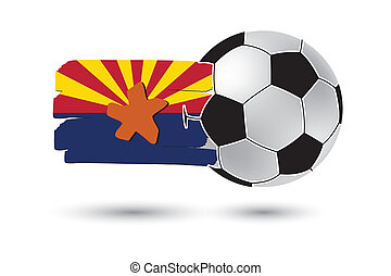 Soccer ball and Arizona State Flag with colored hand drawn...
