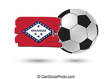 Soccer ball and Arkansas State Flag with colored hand drawn...