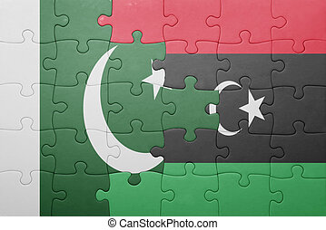 puzzle with the national flag of pakistan and libya