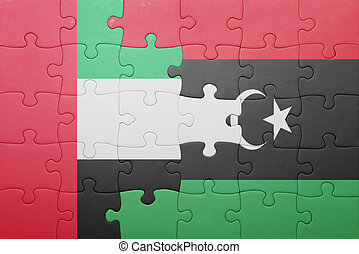 puzzle with the national flag of united arab emirates and libya