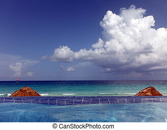 Infinity Pool at the Cancun Caribbean Sea, Mexico - View...