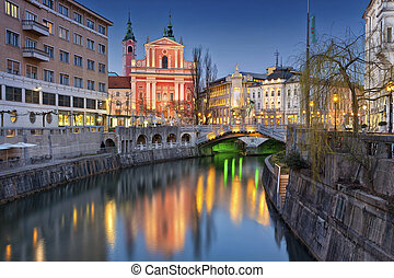 Ljubljana - Image of Ljubljana, Slovenia during twilight...