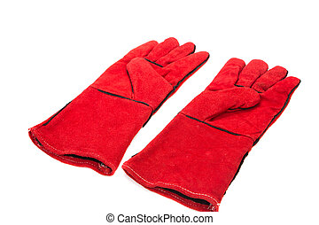 Heavy-duty red gloves Isolated on a white background