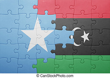 puzzle with the national flag of somalia and libya concept