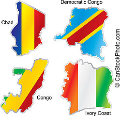 isolated african flags in map shape