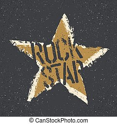 Rockstar Grunge star with lettering Tee print design...