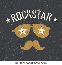 Rockstar Sunglasses with stars and moustache with lettering...