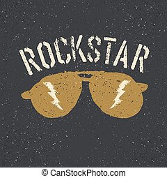 Sunglasses with thunderbolt. Rockstar tee print design...