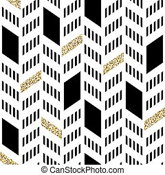 Seamless Chevron Pattern. With Glittering Gold and thin lines