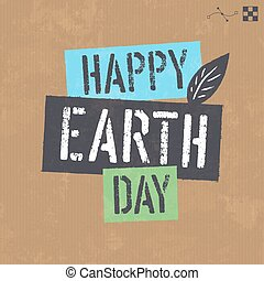 Earth day lettering on cardboard vector texture