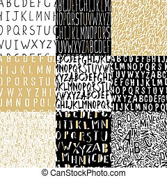 Different Alphabets Seamless Patterns Collection