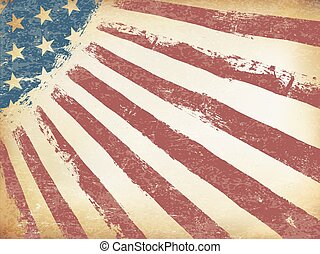 Grunge Aged American Flag Background. Horizontal orientation, vector Template.
