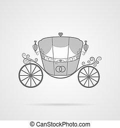 Vector Gray Wedding Carriage Icon