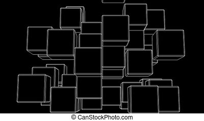 White Wire Frame Cube Abstract On Black Background Abstract...