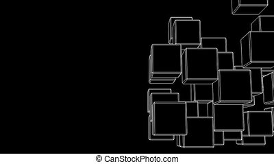 White Wire Frame Cube Abstract