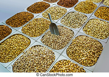 assortment of pistachios in the Arab market in souq at Deira...