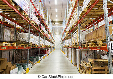 cargo boxes storing at warehouse shelves - logistic,...