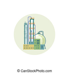 Icon of a chemical plant or refinery processing of natural...