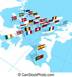 European flags on the map