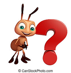 Ant cartoon character with question mark sign - 3d rendered...