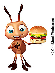 fun Ant cartoon character with burger - 3d rendered...