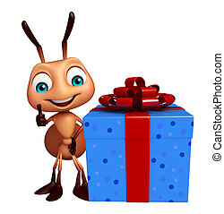 fun  Ant cartoon character with gift box