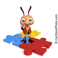 fun Ant cartoon character with puzzle - 3d rendered...