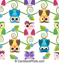 Seamless little owls background pattern pastels illustration...