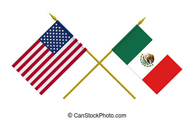 Flags, Mexico and USA - Flags of Mexico and USA, 3d render,...