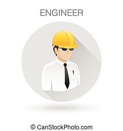 Engineer contractor icon. Professional man with hardhat symbol. Construction developer sign. Vector illustration.