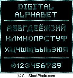 Blue digital cyrillic alphabet