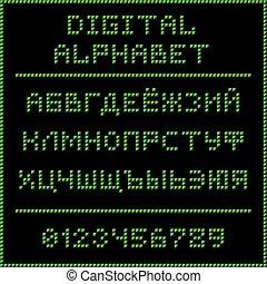 Green digital cyrillic alphabet