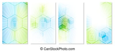 Set of abstract technological wallpaper with global security concept.