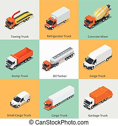 Cargo Truck set icons. Snow Plow Truck, Small Cargo Truck,...